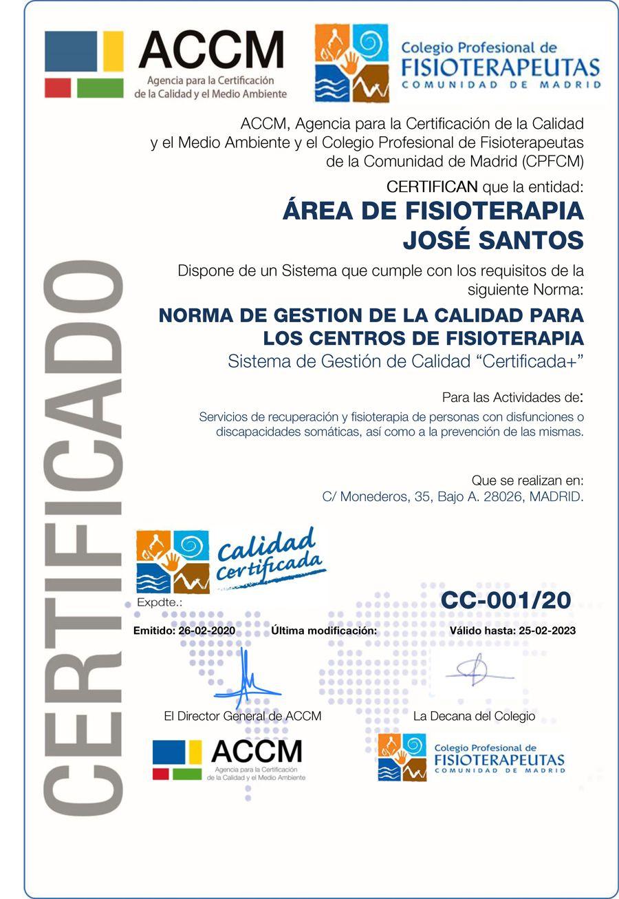 Certificado de Excelencia ACCM e Ilustre Colegio Profesional de Fisioterapeutas de Madrid
